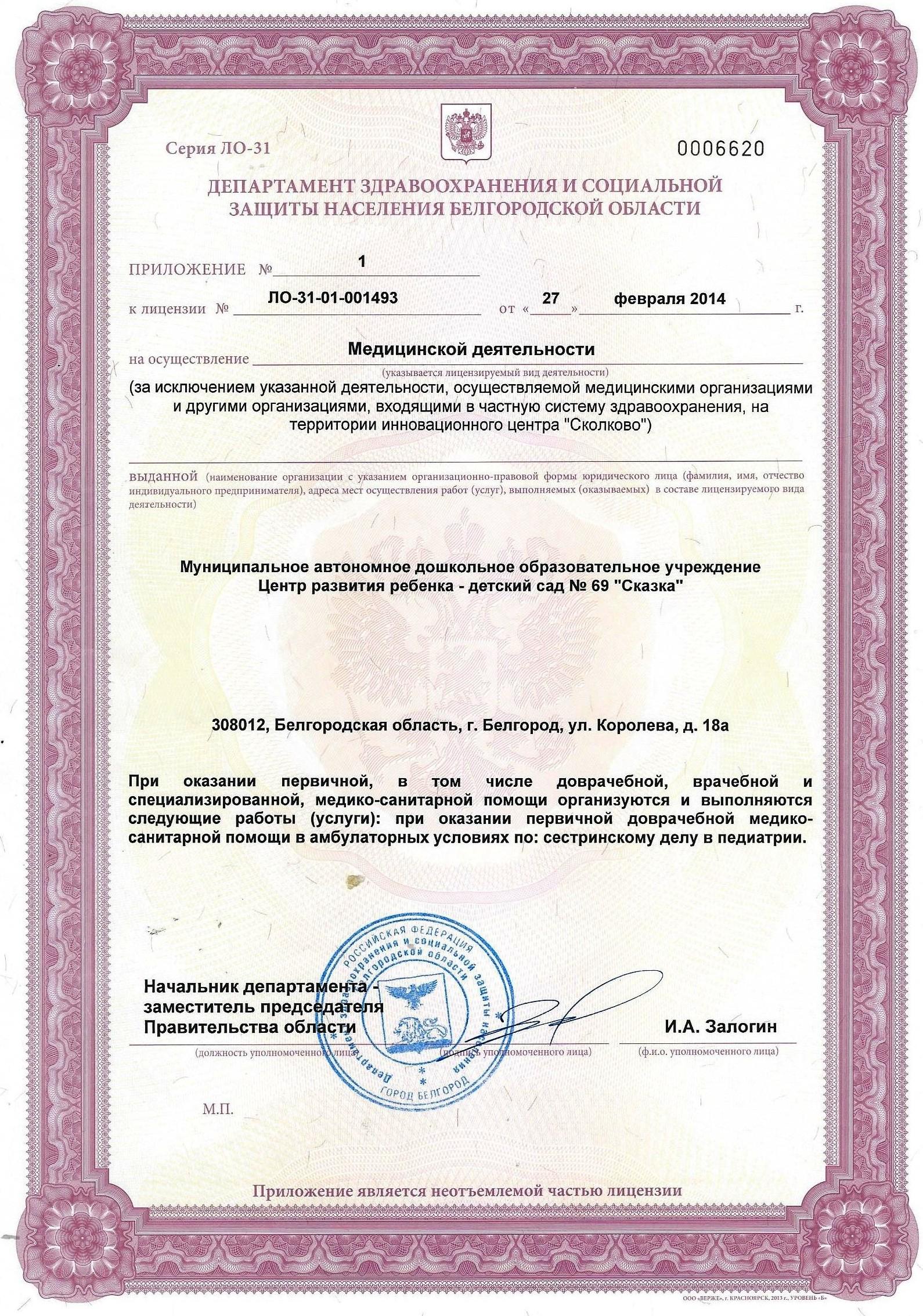 Приложение к лицензии на медицинскую деятельность