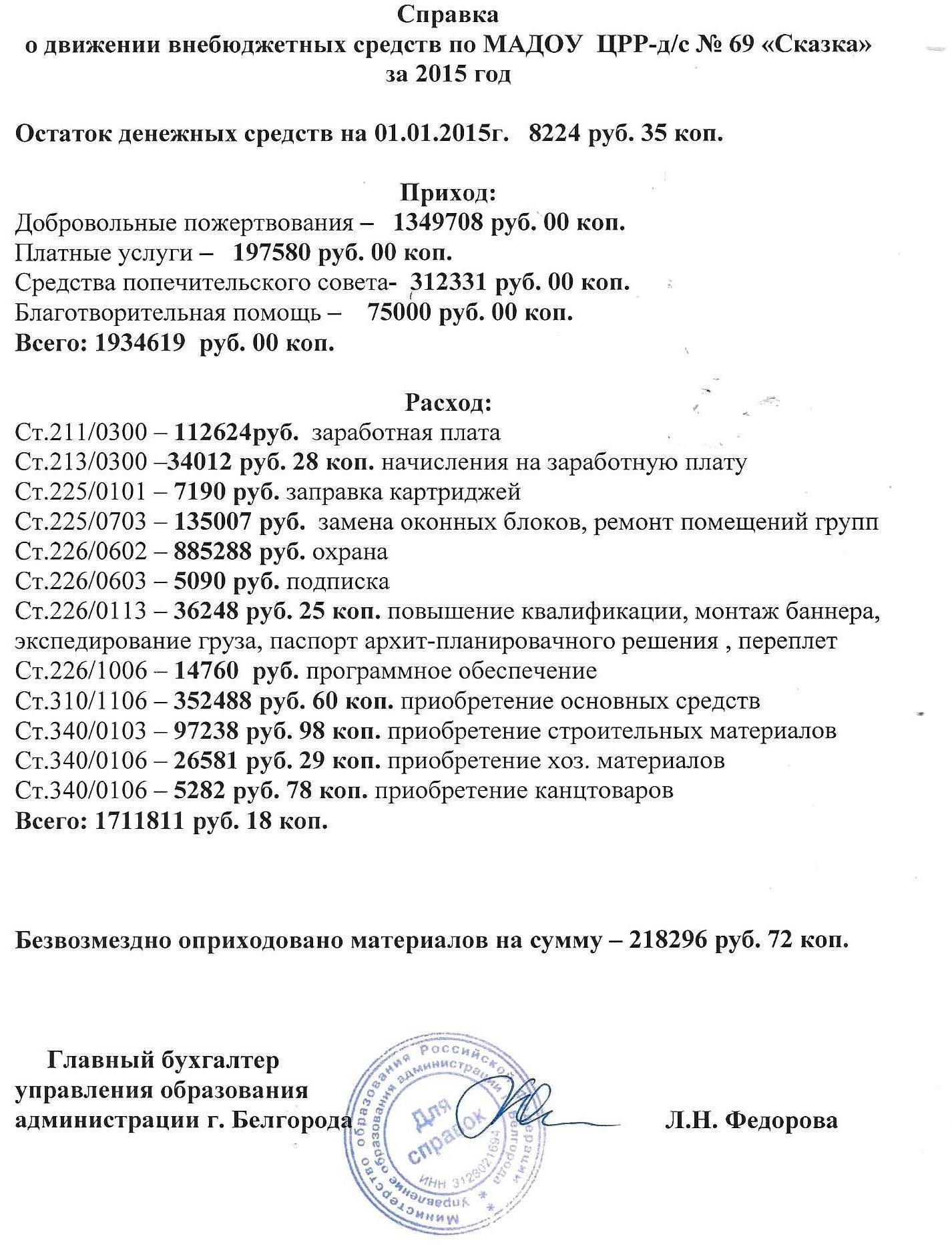 Справка о движении внебюджетных средств за 2015 г.